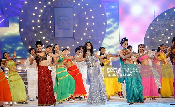 Indian bollywood actress Priyanka Chopra performs during the miss India Pagent in Mumbai on April 5 2009 Around 20 contestants from across the...
