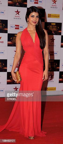 Indian Bollywood actress Priyanka Chopra poses as she attends the 'Big Star Entertainment Awards 2012' ceremony in Mumbai late December 16 2012 AFP...