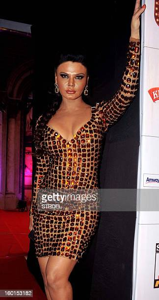 Indian Bollywood actress Rakhi Sawant attends this year's Stardust Awards ceremony in Mumbai on January 26 2013 AFP PHOTO/STR