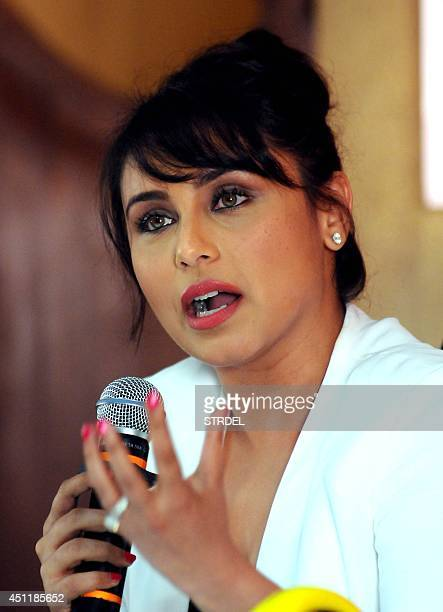Indian Bollywood actress Rani Mukerji speaks during a promotional event for the upcoming Hindi film 'Mardaani' in Mumbai on June 24 2014 AFP PHOTO/STR