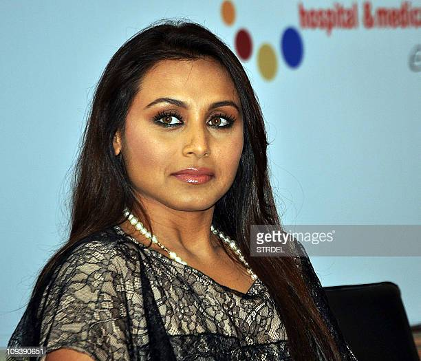 Indian Bollywood actress Rani Mukharjee attends an Indian Stroke Association event in Mumbai on February 23 2011 AFP PHOTO/STR