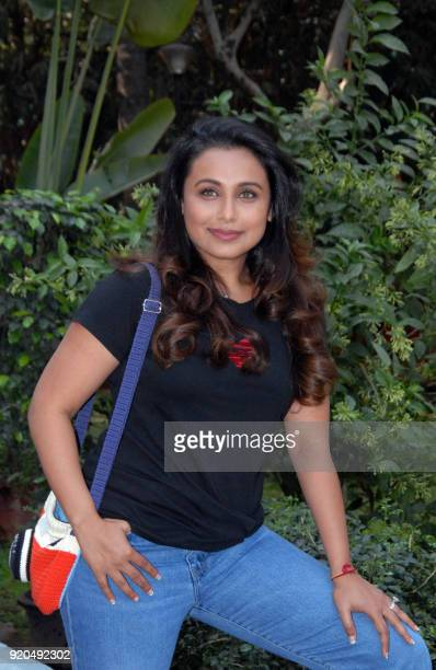 Indian Bollywood actress Rani Mukharjee poses for a photograph during a promotional event for the forthcoming Hindi film 'Hichki' in Mumbai on...