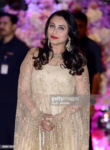 Indian Bollywood actress Rani Mukharjee poses for a picture as she attends the preengagement party of India's richest man and Reliance Industries...
