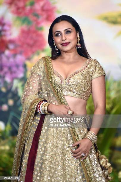 Indian Bollywood actress Rani Mukharjee poses for a picture during the wedding reception of actress Sonam Kapoor and businessman Anand Ahuja in...