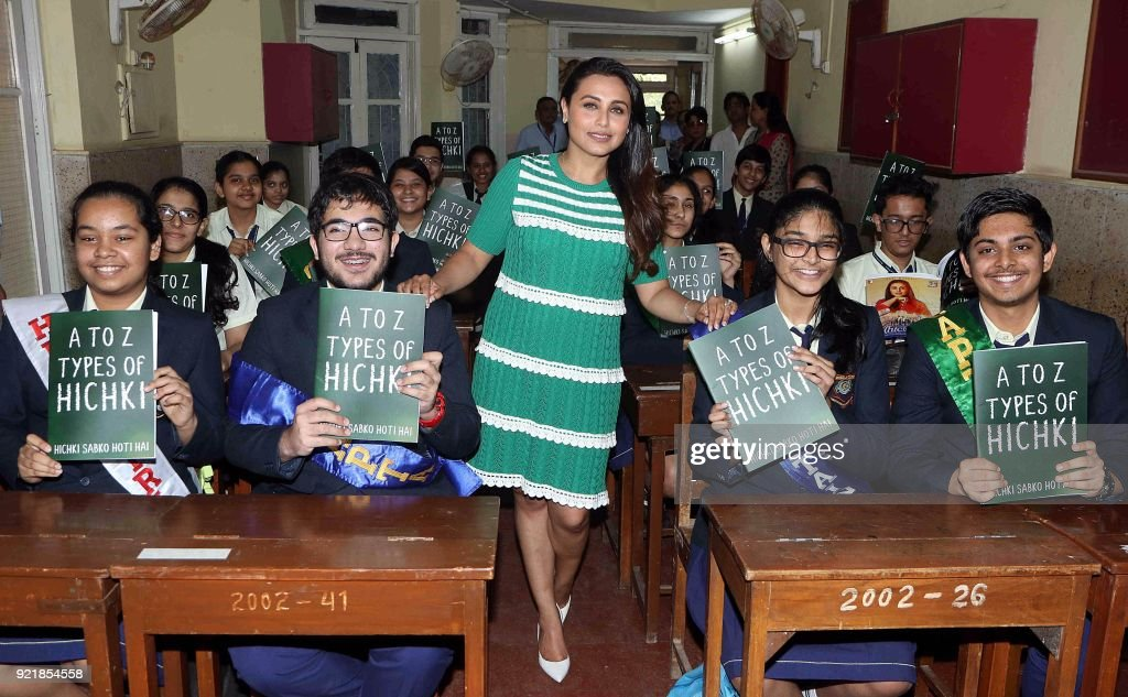 Indian Bollywood actress Rani Mukharjee poses with school