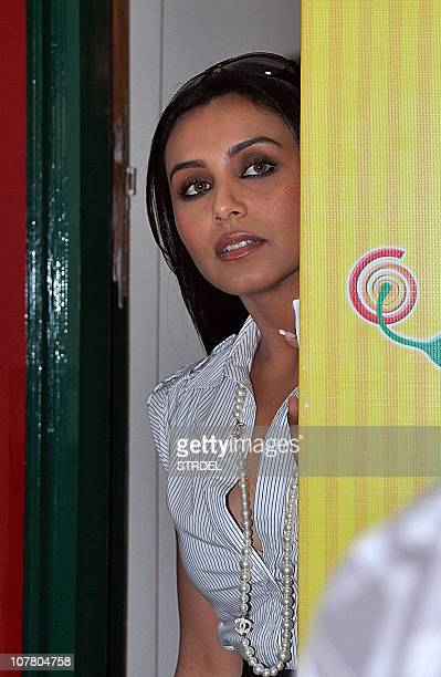 Indian Bollywood actress Rani Mukherjee arrives at the broadcasting station of 383 FM Radio to promote the new Hindi film 'No One Killed Jessica' on...