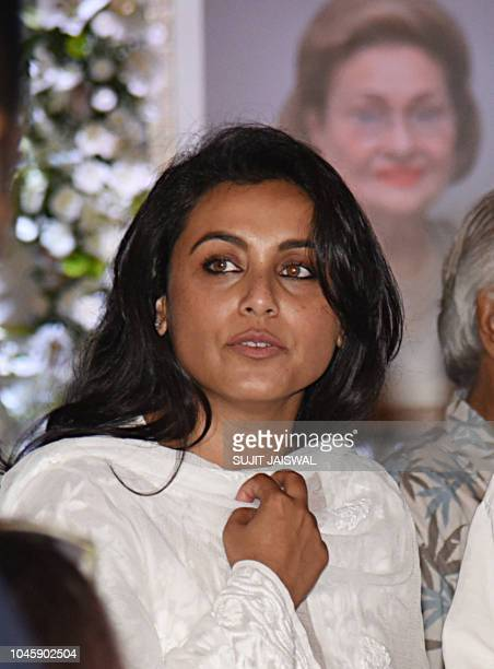 Indian Bollywood actress Rani Mukherjee attends a prayer meet for the late Krishna Raj Kapoor wife of late actor Raj Kapoor in Mumbai on October 04...