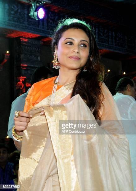 Indian Bollywood actress Rani Mukherjee attends the celebration of North Bombay Sarbojanin Durga Puja Samiti in Mumbai on September 29 2017 / AFP...