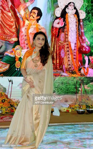 Indian Bollywood actress Rani Mukherjee attends the celebration of North Bombay Sarbojanin Durga Puja Samiti in Mumbai on September 29 2017 / AFP...