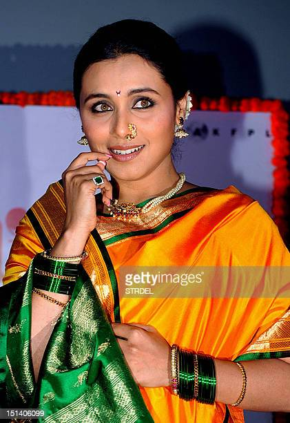 Indian Bollywood actress Rani Mukherjee poses during a promotional event for the forthcoming Marathi film 'Aiyyaa' in Mumbai on September 6 2012 AFP...