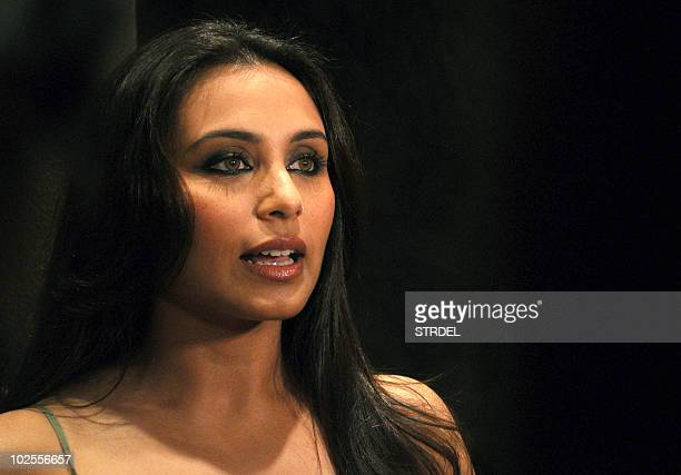 Indian Bollywood actress Rani Mukherjee speaks at the inauguration of fashion designer Sabyasachi's shop in Mumbai late June 30 2010 AFP PHOTO/STR