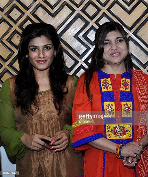 Indian Bollywood actress Raveena Tandon and singer Alka Yagnik attend the recording of a song for the forthcoming Hindi film 'Agni' in Mumbai on...