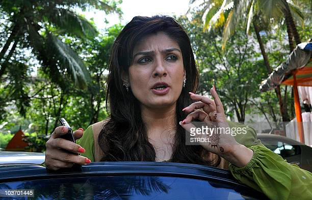 Indian Bollywood actress Raveena Tandon arrives to attend the recording of a song for her forthcoming Hindi film 'Agni' in Mumbai on August 28 2010...