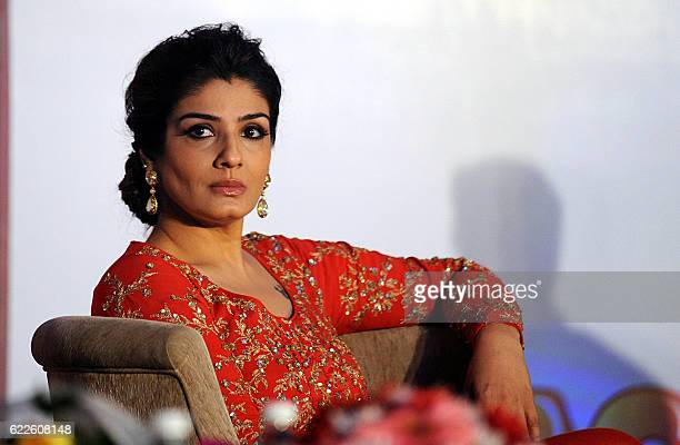 Indian Bollywood actress Raveena Tandon attends an event for 20 of Indias Top Masterminds Kids competing to win a chance to visit NASA headquarters...