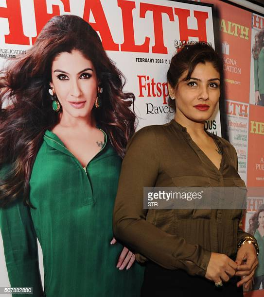 Indian Bollywood actress Raveena Tandon attends an event to unveil the cover of Health Nutrition magazine in Mumbai on February 1 2016 AFP PHOTO /...