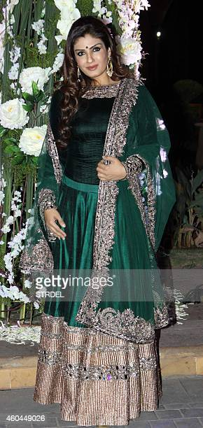 Indian Bollywood actress Raveena Tandon attends the marriage Sangeet ceremony of Bollywood film director Punit Malhotra and Riddhi Malhotra the...
