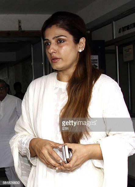 Indian Bollywood actress Raveena Tandon attends the prayer meet of the late Bollywood producer Rajjat Barjatya in Mumbai on July 31 2016 / AFP / STR