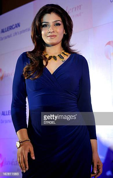 Indian Bollywood actress Raveena Tandon poses with a promotional event in Mumbai on February 27 2013