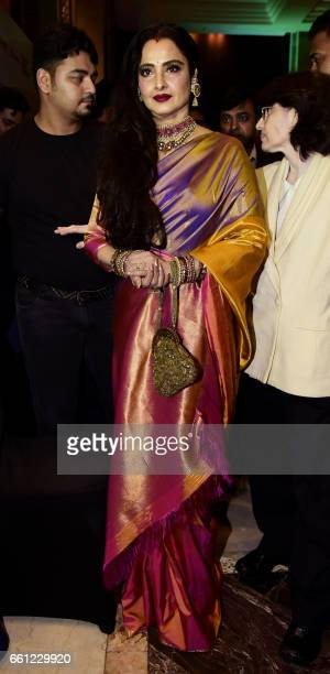 Indian Bollywood actress Rekha attends the 'GeoSpa AsiaSpa India Awards' ceremony in Mumbai on March 30 2017 PHOTO /