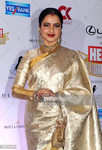 Indian Bollywood actress Rekha attends the 'Hello Hall of Fame Awards 2018' in Mumbai on March 11 2018 / AFP PHOTO /