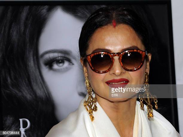 Indian Bollywood actress Rekha attends the launch of photographer Dabboo Ratnanis 2016 Calendar in Mumbai on January 12 2016 AFP PHOTO / AFP / STR
