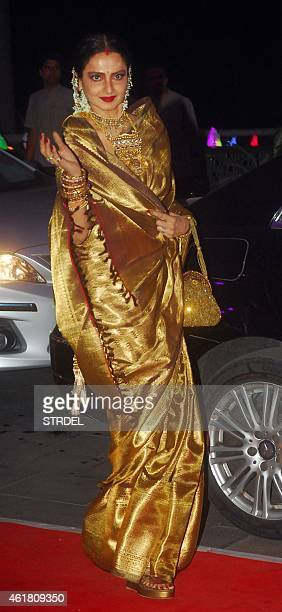 Indian Bollywood actress Rekha attends the wedding reception of Kussh Sinha son of Bollywood veteran actor Shatrughan Sinha and Taruna Agarwal in...