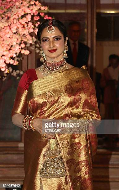 Indian Bollywood actress Rekha attends the wedding reception of Shaina Nath the daughter of producer and star secretary Rakesh Nath and actress Reema...