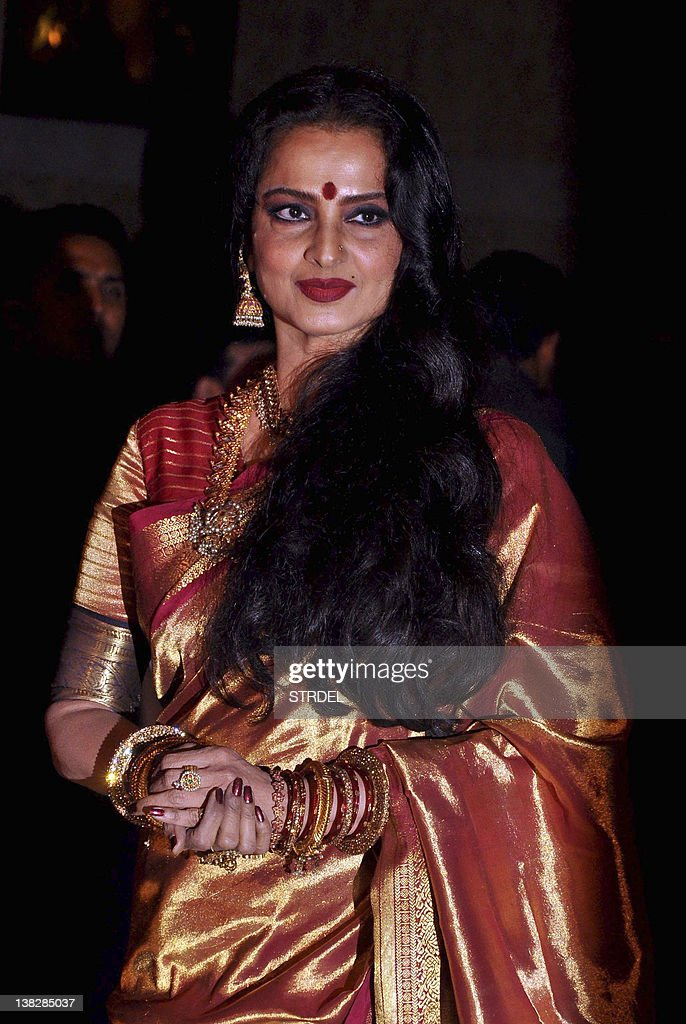 Indian Bollywood Actress Rekha Attends The Wedding Reception Of Actors Ritesh Deshmukh And Genelia D