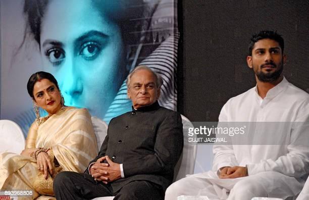 Indian Bollywood actress Rekha music composer Anandji and actor Prateik Babbar look on during the Smita Patil Memorial Awards 2017 in Mumbai late on...