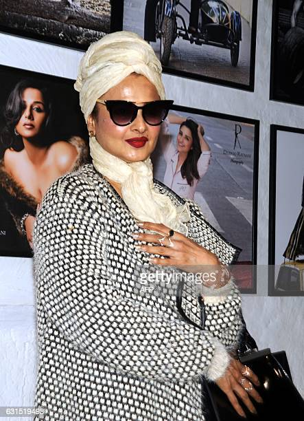 Indian Bollywood actress Rekha poses as she attends the launch of Daboo Ratnani's Celebrity Calendar 2017 in Mumbai late January 11 2017 / AFP