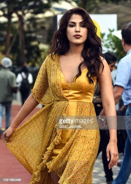 Indian Bollywood actress Rhea Chakraborty poses for photographs at the Lakmé Fashion Week Summer Resort 2019 in Mumbai on February 1 2019