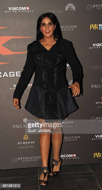Indian Bollywood actress Richa Chadda poses as she attends the premiere of Hollywood action thriller film xXx Return of Xander Cage starring Vin...