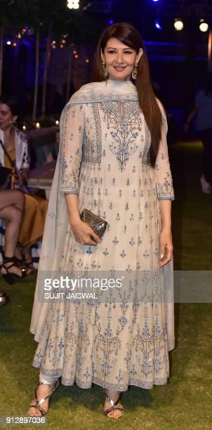 Indian Bollywood actress Sangeeta Bijalani poses for a photograph at Lakmé  Fashion Week Summer Resort 2018 2210d5089