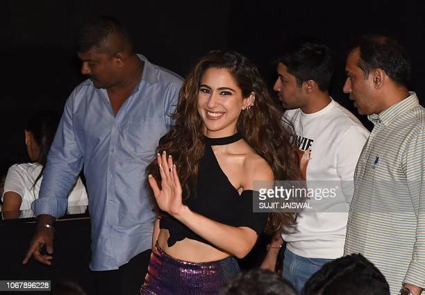 Indian Bollywood actress Sara Ali Khan gestures during the trailer launch of the upcoming Hindi film 'SIMMBA' in Mumbai on December 3 2018