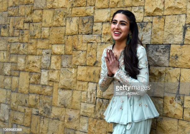 Indian Bollywood actress Sara Ali Khan poses for a picture during the promotion of the Hindi film 'Kedarnath' in Mumbai on December 8 2018