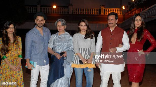 Indian Bollywood actress Sharmila Tagore with her daughter Saba Ali Khan Kunal Khemu Saif Ali Khan and Kareena Kapoor Khan attend the debut of the...