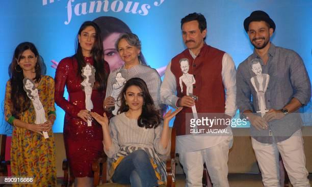 Indian Bollywood actress Sharmila Tagore with her daughter Saba Ali Khan Kareena Kapoor Khan Saif Ali Khan and Kunal Khemu attend the debut of the...