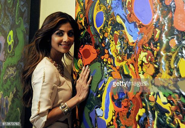 Indian Bollywood actress Shilpa Shetty Kundra attends the opening of the painting exhibition Flow Dreams by artist Anu Malhotra in Mumbai on October...