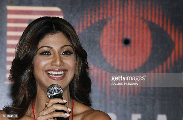 Indian Bollywood actress Shilpa Shetty smiles during a promotional event for a television reality show in Mumbai on August 6 2008 The 32yearold...