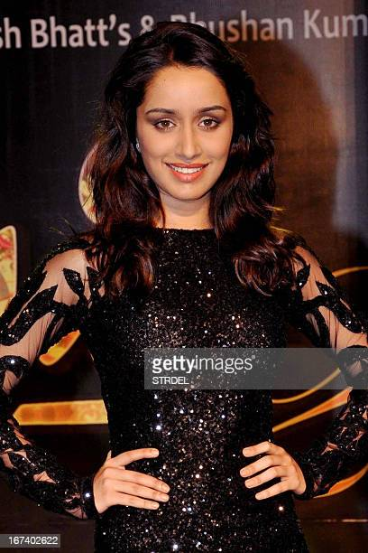 Indian Bollywood actress Shraddha Kapoor attends a promotional event for the Hindi film 'Aashiqui 2' in Mumbai on April 24 2013 AFP PHOTO/STR