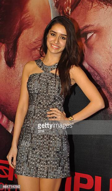 Indian Bollywood actress Shraddha Kapoor attends the Success Party of Hindi film 'Badlapur' directed by Sriram Raghavan in Mumbai on February 27 2015...