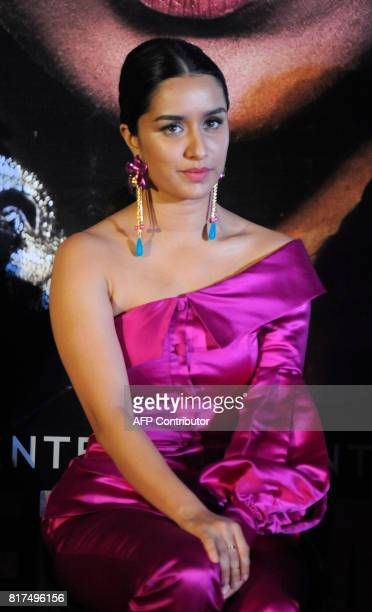 Indian Bollywood actress Shraddha Kapoor looks on during a promotional event for the forthcoming Hindi film 'Haseena Parkar' directed by Apoorva...