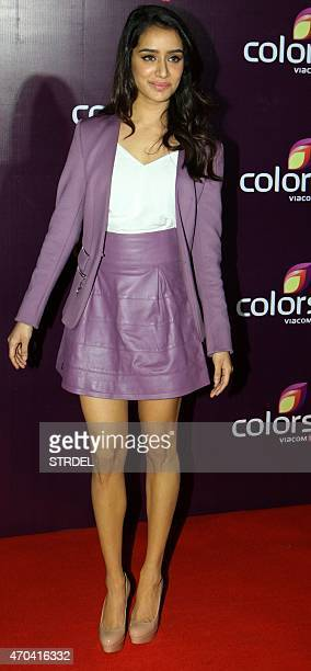 Indian Bollywood actress Shraddha Kapoor poses as she attends the Colors Annual Party in Mumbai late April 18 2015 AFP PHOTO/STR