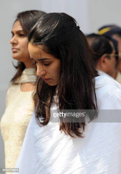 Indian Bollywood actress Shradha Kapoor attends the funeral of legendary late Bollywood actress Sridevi Kapoor in Mumbai on February 28 2018...