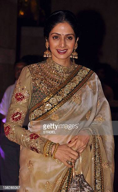 Indian Bollywood actress Shree Devi attends the wedding reception of actors Ritesh Deshmukh and Genelia D'Souza in Mumbai on February 4 2012 AFP...