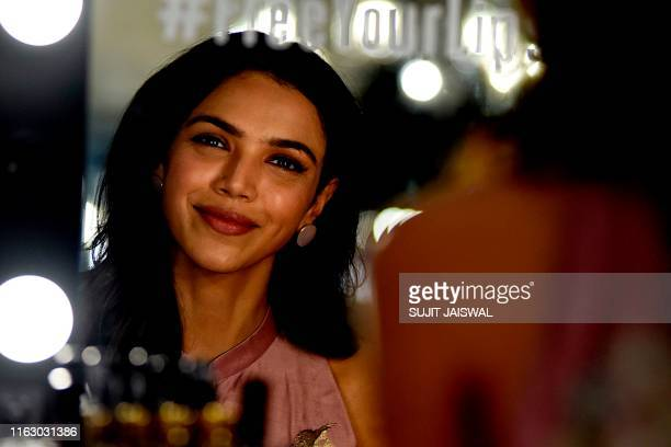 Indian Bollywood actress Shriya Pilgaonkar poses for a photograph during Lakme Fashion Week Winter Festive 2019 in Mumbai on August 21 2019 / XGTY /...