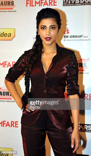 Indian Bollywood actress Shruti Haasan poses for a photograph during the 59th 'Idea Filmfare Awards 2013' preawards party in Mumbai on late January...