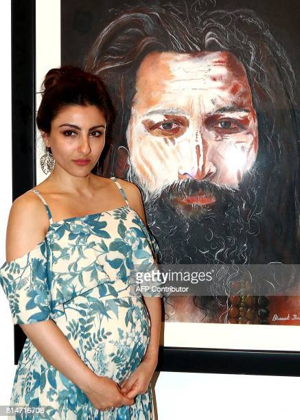 Indian Bollywood actress Soha Ali Khan attends the inauguration of art exhibition 'Specter Spirit and Shadows' artist by Bharat Thakur in Mumbai on...