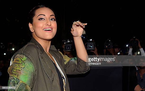 Indian Bollywood actress Sonakshi Sinha attends the promotion and song launch of her upcoming Hindi film 'Akira' in Mumbai on August 3 2016 / AFP /...