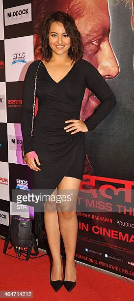 Indian Bollywood actress Sonakshi Sinha attends the Success Party of Hindi film 'Badlapur' directed by Sriram Raghavan in Mumbai on February 27 2015...